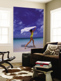 Woman Running on Beach with White Sarong Overhead Wall Mural by Greg Johnston