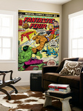 Marvel Comics Retro: Fantastic Four Family Comic Book Cover #166, Thing Vs. Hulk (aged) Mural