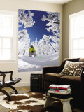 Snowboarder Going Through Trees in Powder Snow at Hoodoo Ski Resort Wall Mural by Tyler Roemer