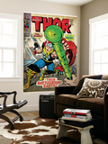Marvel Comics Retro: The Mighty Thor Comic Book Cover No.144, Charging, Swinging Hammer (aged) Wall Mural