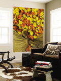 Single Marigolds of Yellow and Orange are Sold by Bagful to Local Worshippers Wall Mural by April Maciborka