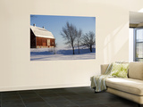Typical Red Barn in Rural Wisconsin in Winter Wall Mural by Peter Ptschelinzew