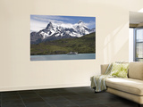 Cuernos Massif with Lake Shuttle Boat on Lago Pehoe Wall Mural by John Elk III