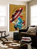 Marvel Comics Retro: Captain America Comic Panel, Throwing Shield (aged) Wall Mural
