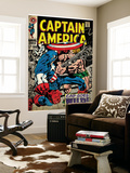Marvel Comics Retro: Captain America Comic Book Cover No.106, Cap Goes Wild (aged) Wall Mural