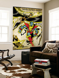 Marvel Comics Retro: X-Men Comic Panel, Colossus, Storm, Charging and Flying (aged) Wall Mural