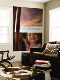 Portrait of Young Girl at Window with Reflection of Clouds at Sunset Wall Mural by Will Salter