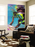 Two People Snorkelling in Blue Water Wall Mural by Greg Johnston