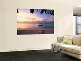 Tourist Boat Moored on the Sea at Sunset Wall Mural by Allan Montaine