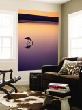 Flamingo Silhouetted at Sunset in Laguna Chaxa Wall Mural by Michael Taylor