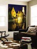 Old Houses on One of the Central Canals at Night Wall Mural by Krzysztof Dydynski