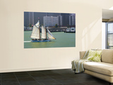 Skow Schooner 'Alma' under Full Sail Passing by Waterfront Premium Wall Mural by Emily Riddell