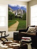 Yosemite Falls with Wooden Walkway in Foreground Premium Wall Mural by Emily Riddell