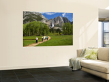 People Looking at Yosemite Falls from Wooden Walkway Premium Wall Mural by Emily Riddell