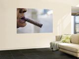 Profile of Cuban Woman Smoking Cigar in Vieja District Vægplakat af Christian Aslund