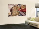 Salesman Walks on Carpets for Sale at Carpet Factory Wall Mural by Holger Leue