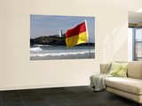 Lifeguards' Warning Flag and Godrevy Lighthouse Wall Mural by Doug McKinlay