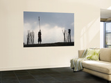 Silhouette of Young Child Holding Prayer Flag Wall Mural by Antony Giblin