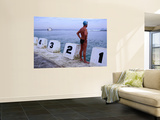 Swimmer Standing at Blocks of Merewether Ocean Baths Wall Mural by Dallas Stribley