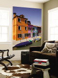 Colorful Houses and Boats on Canal Wall Mural by Dennis Walton