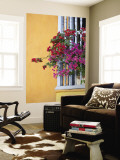Bougainvillea Adorning Colonial Window Wall Mural by Margie Politzer