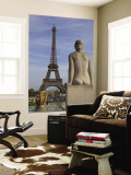 Statue on Trocadero and Eiffel Tower Wall Mural by Craig Pershouse