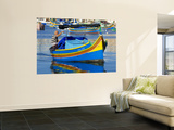 Fishing Boat in Marsaxlokk Harbour Wall Mural by Jean-pierre Lescourret