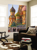 Walls and Domes of St Basils Cathedral (Pokrovsky Cathedral) in Red Square Wall Mural by Tim Makins