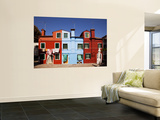 Colorful Houses and Laundry Wall Mural by Dennis Walton