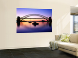 Harbour Bridge at Dawn, Seen from Blue Point, Boats in Foreground are Moored at Lavender Bay Wall Mural by Ross Barnett
