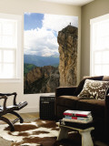 Hiker Standing on Top of Cliff Near Averau Peak in Dolomites Range Near Cortina Wall Mural by Ruth Eastham & Max Paoli
