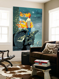 Human Torch 9 Cover: Human Torch Fighting Wall Mural by Scottie Young