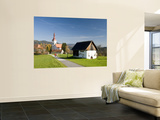 Village Church and Barn Wall Mural by Richard Nebesky