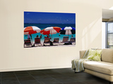 People in Sea and under Beach Umbrellas at Philipsburg Beach on Great Bay. Wall Mural by Richard l'Anson