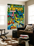 Avengers No.144 Cover: Hellcat, Captain America, Iron Man, Beast, Vision and Avengers Charging Wall Mural by George Perez