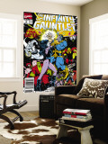 Infinity Gauntlet No.6 Cover: Adam Warlock, Thanos, Nebula, Silver Surfer, Hulk and Thor Fighting Wall Mural by George Perez