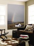 Village Church with Rainbow in Background Wall Mural by Sean Caffrey