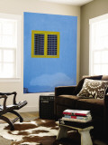 Yellow Window on Blue Wall Wall Mural by Stephane Victor