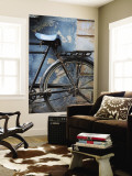 Bicycle Leaning Against Painted Wall Wall Mural by April Maciborka