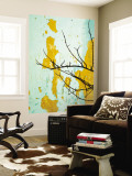 Detail of Tree Branch Against Wall with Peeling Paint Wall Mural by Rachel Lewis