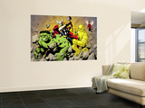 Avengers Finale 1 Group: Hulk, Thor, Iron Man, Wasp and Avengers Fighting Wall Mural by Eric Powell