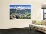 Mountain-Top View of Cortina D'Ampezzo and Peak of Tofana Wall Mural by Andrew Bain