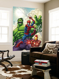 Marvel Adventures Super Heroes 1 Cover: Spider-Man, Iron Man and Hulk Reproduction murale géante par Roger Cruz