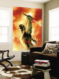 Drax The Destroyer No.3 Cover: Drax The Destroyer Fighting Wall Mural by Mitchell Breitweiser