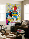 Infinity Gauntlet No.5 Group: Thanos, Dr. Strange, Silver Surfer, Adam Warlock and Nebula Crouching Wall Mural by George Perez