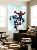 Marvel Age Team Up 2 Cover: Spider-Man and Captain America Fighting and Flying Wall Mural by Randy Green