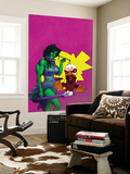 Howard The Duck 3 Cover: She-Hulk and Howard The Duck Fighting Wall Mural by Juan Bobillo
