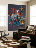 Official Handbook: Avengers 2005 Cover: Captain America, Hulkling and Cage Wall Mural by Tom Grummett
