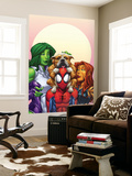 Marvel Adventures Super Heroes No.13 Cover: Spider-Man, She-Hulk and Tigra Wall Mural by Patrick Scherberger