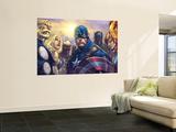 Ultimates 3 No.5 Cover: Captain America, Hawkeye, Black Panther, Iron Man, Wasp, Thor and Sif Fototapete von Joe Madureira